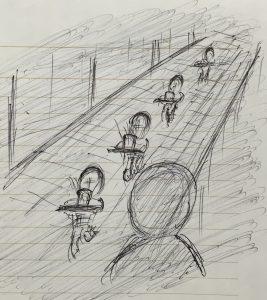 坂で遭遇する雪洞の子供たち