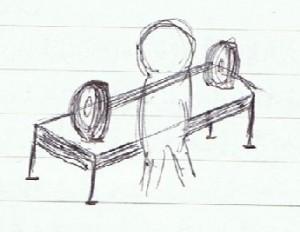 テーブルに載せたシャフト