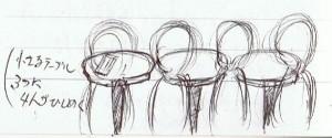 テーブルの4人