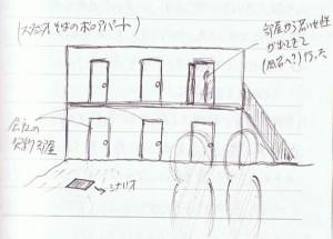 スタジオそばのアパート
