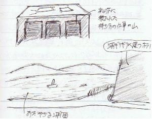 湖畔にホテルの建つ湖