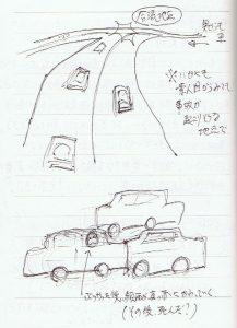 車の多重事故をみる