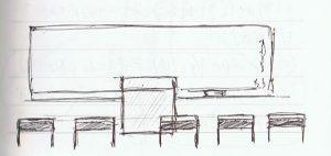 教室の並んだ机