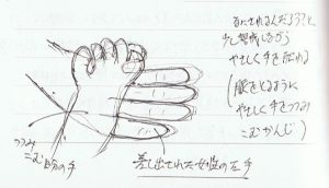 女性の手を押す